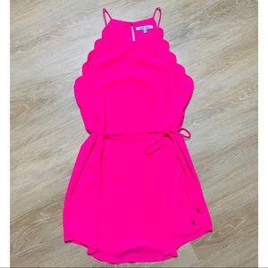 Naked Zebra Hot Pink Scalloped Dress